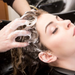 woman's hair being washed